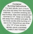 "Container Candle Wax Warning/Burning Instructions Label Round 2"" Dia 12-CT"