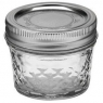 4 oz Quilted Crystal Jelly Mason Jars with Lids/Bands x 12 Ball