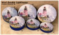 Round Size 5C West Quoddy Lighthouse Decorative Tin with Lid