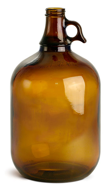 128 Oz 1 Gal Amber Glass Bottle Jug Round Liquid Storage